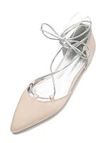 preiswerte -Damen Schuhe Satin Frühling Sommer Komfort Ballerina Mary Jane D'Orsay und Zweiteiler Knöchelriemen Hochzeit Schuhe Spitze Zehe Schleife