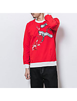 cheap -Men's Daily Going out Hoodie & Sweatshirt Print Round Neck Micro-elastic Polyester Long Sleeves Winter Fall