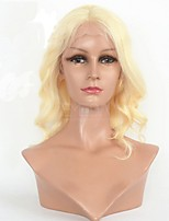 Women Human Hair Lace Wig Human Hair Lace Front 130% Density Body Wave Wig Light Blonde Short