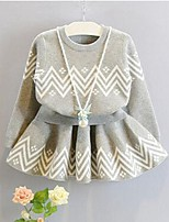 Girls' Jacquard Clothing Set,Cotton Winter Spring Long Sleeve Cute Gray