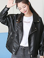 cheap -Women's Daily Going out Street chic Winter Fall Leather Jacket,Solid Peter Pan Collar Long Sleeves Regular PU Pure Color