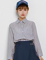 Women's Daily Cute Shirt,Striped Shirt Collar Long Sleeves Cotton