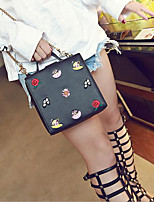 Women Bags PU Tote Buttons for Casual All Season White Black Orange Red black