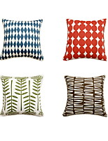 4 pcs Cotton Pillow Case Bed Pillow Travel Pillow Sofa Cushion Pillow Cover,Geometric Art Deco Fashion Artistic Style Modern Style Square