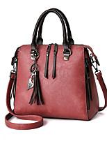 Donna Sacchetti Per tutte le stagioni PU (Poliuretano) Tote Cerniera per Casual Rosso Rosa Grigio Giallo Verde scuro
