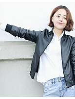 Women's Going out Casual/Daily Simple Spring Fall Leather Jacket,Solid Round Neck Long Sleeves Short PU