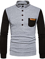 Men's Daily Regular Pullover,Color Block Stand Long Sleeves Others Winter Fall Medium strenchy