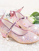 cheap -Girls' Shoes Microfibre PU Spring Fall Tiny Heels for Teens Heels for Casual White Blue Pink