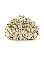 Women Bags Metal Evening Bag Crystal Detailing Flower(s) for Wedding Event/Party All Season Gold