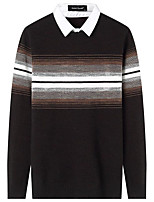 Men's Daily Casual Regular Pullover,Solid Striped Shirt Collar Long Sleeves Polyester Winter Fall Thick Micro-elastic