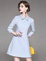 preiswerte -Damen A-Linie Kleid-Ausgehen Lässig/Alltäglich Street Schick Solide Hemdkragen Knielang Langärmelige Baumwolle Polyester Herbst Mittlere