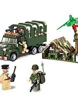 abordables -Bloques de Construcción Camión Vehículo militar Juguetes Camioneta Cuadriga Vehículos Militar Non Toxic Chico 308 Piezas