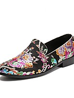 cheap -Men's Shoes Denim Spring Fall Comfort Novelty Loafers & Slip-Ons Satin Flower Animal Print For Wedding Party & Evening Red Black