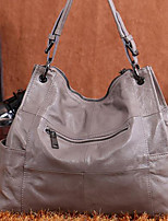 Women Bags Cowhide Tote Zipper for Casual All Season Black Light Gray