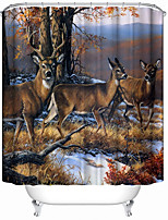 3D Digital Print Deer Jungle Animal Polyester Waterproof Curtain