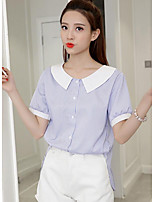 cheap -Women's Daily Wear Sophisticated Shirt,Striped Round Neck Short Sleeves Cotton