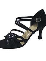 Women's Latin Sparkling Glitter Sandal Heel Professional Customized Heel Black Customizable