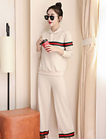 Costumes Pyjamas Femme,Rayures Coton Polyester Noir Beige