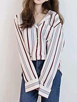 cheap -Women's Daily Cute Shirt,Striped Shirt Collar Long Sleeves Cotton