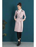 cheap -ZIYI Women's Party Street chic Spring Fall Trench coat,N/A Stand Long Sleeves Long Cotton 100% Polyester