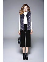 Women's Going out Casual/Daily Simple Street chic Spring Winter Fur Coat,Solid V Neck Sleeveless Short Polyester