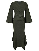 Women's Daily Going out Casual All Seasons Set Skirt Suits,Solid V Neck Long Sleeve Cotton