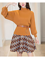 Women's Daily Casual Winter Fall Set Skirt Suits,Solid Round Neck Long Sleeves Cotton