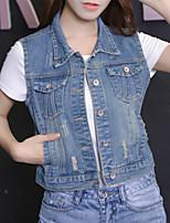 Giacca di jeans Da donna Casual Semplice Autunno Inverno,Tinta unita Colletto Poliestere Corto Maniche lunghe