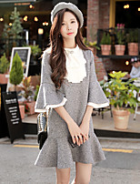 Women's Daily Going out Casual Street chic Loose Dress,Solid Color Block Crew Neck Above Knee 3/4 Sleeve Rayon Polyester Spring Fall