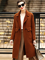 Women's Daily Going out Simple Casual Winter Coat,Solid Tailored Collar Long Sleeves Long Wool Pocket