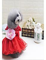 abordables -Gato Perro Vestidos Ropa para Perro Casual/Diario Mantiene abrigado Flores/Botánica Rojo Verde Rosa Disfraz Para mascotas