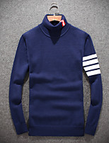 Men's Daily Going out Casual Short Pullover,Solid Turtleneck Long Sleeves Wool Winter Fall/Autumn Medium Stretchy