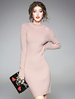 Women's Daily Going out Street chic Sweater Dress,Solid Crew Neck Knee-length Long Sleeve Rayon Polyester Nylon Winter Fall High Rise