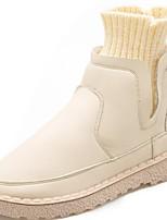 abordables -Mujer Zapatos Punto PU Invierno Confort Botas de Moda Botas Dedo redondo Botines/Hasta el Tobillo Para Casual Negro Beige