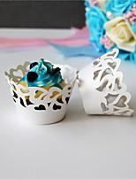 50pcs/lot Spindrift Style  laser Cut Cupcake cake Wrappers Cup Paper For Wedding Birthday Baby Shower Decoration.