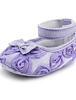 cheap -Baby Shoes Fabric Spring Fall Comfort First Walkers Crib Shoes Flats Applique Magic Tape for Wedding Dress Black Purple Fuchsia Red Pink