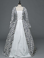 Victorian Rococo Female Adults' Party Costume Masquerade White Cosplay Stretch Satin Satin Long Sleeves Floor Length