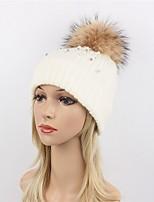 Для женщин Для вечеринки На каждый день Широкополая шляпа Лыжная шапочка,Зима Осень Шерсть Акрил Мех енота Однотонный Чистый цвет Белый