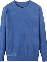 Для мужчин На каждый день Обычный Пуловер Однотонный,Круглый вырез Длинный рукав Хлопок Средняя Слабоэластичная