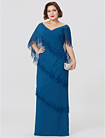 Sheath / Column V-neck Floor Length Chiffon Mother of the Bride Dress with Tiered by LAN TING BRIDE®