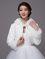 Long Sleeves Faux Fur Wedding Party / Evening Women's Wrap With Pom-pom Pattern/Print Shrugs