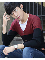 Men's Others Casual Regular Pullover,Color Block V Neck Long Sleeves Polyester Autumn Medium Micro-elastic