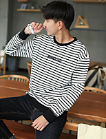 cheap -Men's Daily Hoodie & Sweatshirt Solid Round Neck Inelastic Polyester Long Sleeves Winter