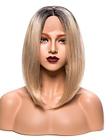 Women Synthetic Wig Lace Front Short Straight Black/Gold Bob Haircut With Baby Hair Party Wig Natural Wigs Costume Wig