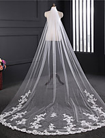 cheap -One-tier Lace Applique Edge Elegant & Luxurious Wedding Veil Chapel Veils 53 Applique Embroidery Tulle