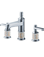 Contemporary Luxury Centerset High Quality with  Brass Valve Two Handles Three Holes for  Chrome , Bathroom Sink Faucet