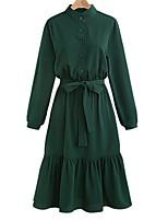 Chemise Robe Femme Décontracté / Quotidien Grandes Tailles Chic de Rue,Couleur Pleine Mao Mi-long Manches Longues Rayonne Polyester