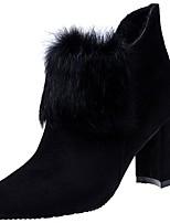 Недорогие -Для женщин Обувь Резина Зима Модная обувь Ботинки Заостренный носок Назначение Черный