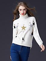 cheap -FRMZ Women's Daily Work Cute Active Regular Pullover,Color Block Sequin Sparkling Glitter Turtleneck Long Sleeves Acrylic Nylon Winter