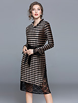 MAXLINDY Women's Party Going out Vintage Shift DressStriped Patchwork Asymmetrical Midi Long Sleeve Velvet Winter Fall Medium Waist Inelastic